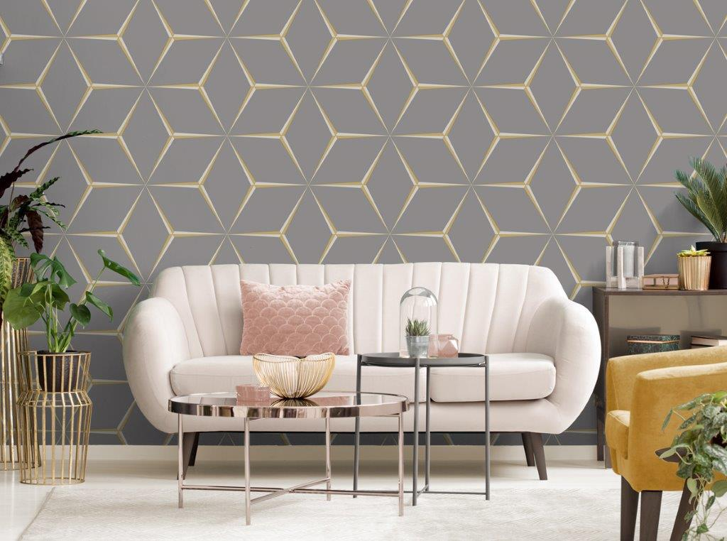 Remarkable Belgravia Decor Wallpaper Harper Yellow Grey 9740 Interior Design Ideas Gentotryabchikinfo