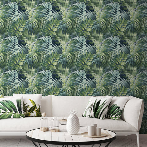 Antiqua Palm Teal/Green | GranDeco Life Wallpaper | 170702