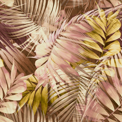 Antiqua Palm Pink/Yellow | GranDeco Life Wallpaper | 170703