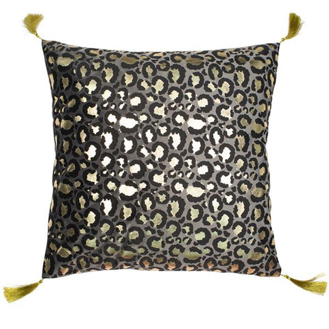 Amur Leopard Gold Cushion | Feather Filled | Malini Designs