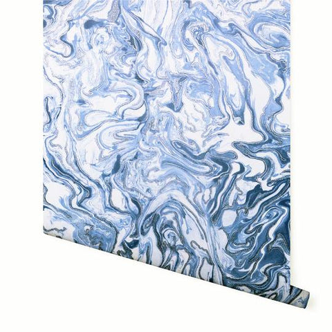 Liquid Marble Navy/White | Arthouse Marble Wallpaper | 693902