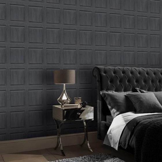Washed Panel Charcoal | Arthouse Wallpaper | 909600