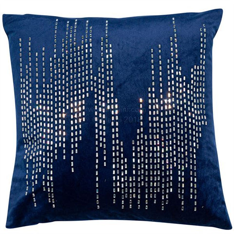 Bijou Navy Diamond Cushion | Feather Filled | Malini Designs