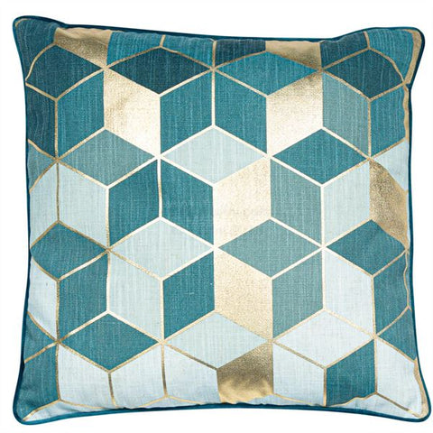 Cubes Teal/Gold Cushion| Feather Filled | Malini Designs