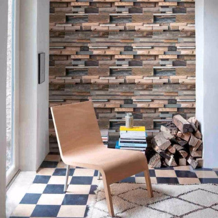 GranDeco Wallpaper | Facade Wood Neutral/Blue | FC3003