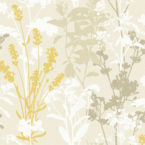 Exclusive Wallpaper - Silhouette Blossoms Mustard - FD24600