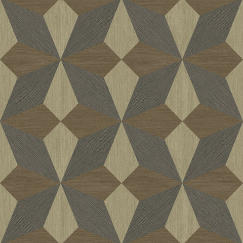 Fine Decor Exclusive Wallpaper | Geo Linear Choc/Gold | FD25303