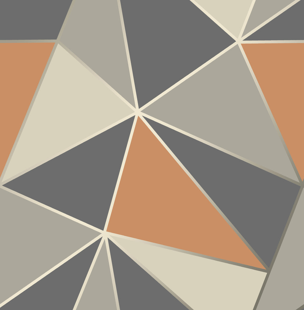 Fine Decor Wallpaper / Apex Geometric Steel / Orange / FD42002