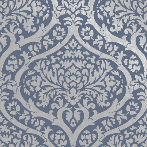 Fine Decor Wallpaper | Sandringham Damask Blue | FD42531