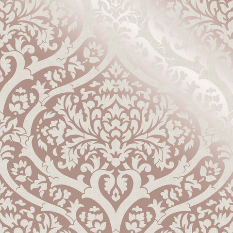 Fine Decor Wallpaper | Sandringham Damask Rose Gold | FD42533