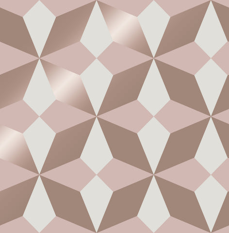 Fine Decor Wallpaper | Nova Geo Rose Gold/Pink | FD42547