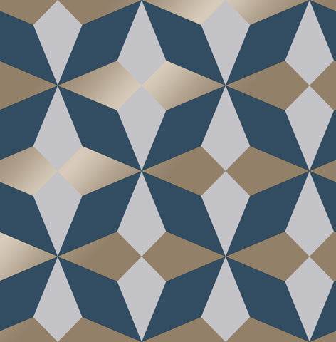 Fine Decor Wallpaper | Nova Geo Navy/Gold | FD42548