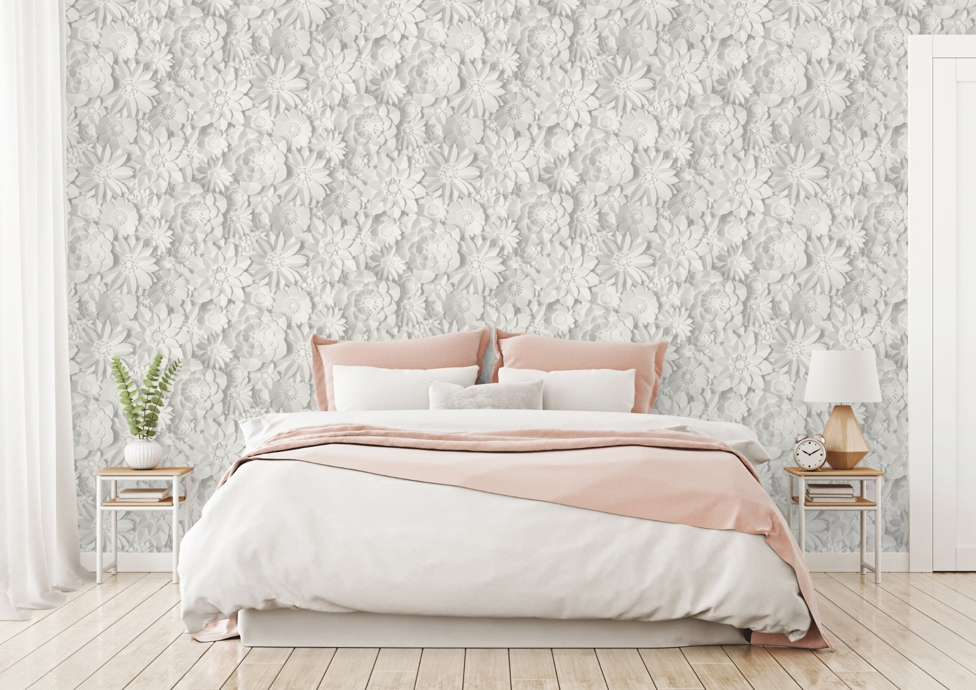 Fine Decor Wallpaper Dimensions Floral White Grey Fd42554 Wonderwall By Nobletts