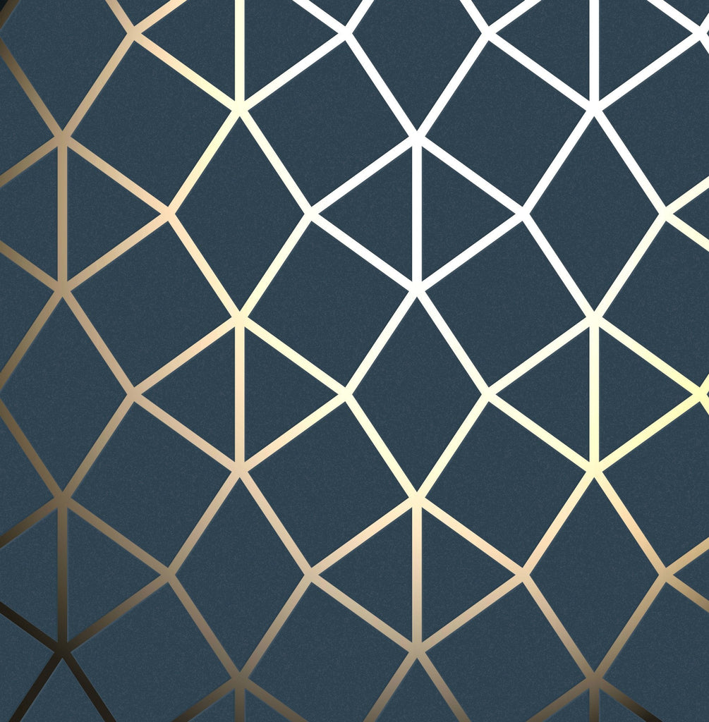 Fine Decor Wallpaper | Platinum Geo Trellis Navy/Gold | FD42560