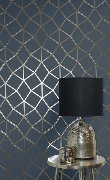 Fine Decor Wallpaper Platinum Geo Trellis Navy Gold