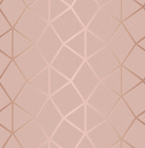 Fine Decor Wallpaper | Platinum Geo Trellis Blush | FD42560