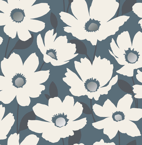 Fine Decor Wallpaper | Mia Floral Navy | FD42572
