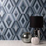 Shard Diamond Navy Wallpaper | Fine Decor FD42608