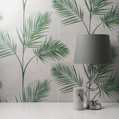 South Beach Grey/Green | Fine Decor FD42678 | Tropical Wallpaper