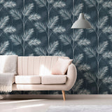 South Beach Navy/Grey | Fine Decor FD42681 | Tropical Wallpaper
