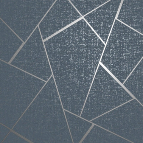 Quartz Fractal Navy Blue | Fine Decor Wallpaper FD42683