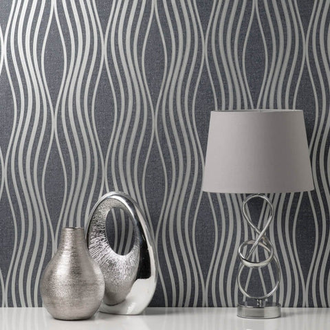 Quartz Wave Navy Blue | Fine Decor Wallpaper FD42686