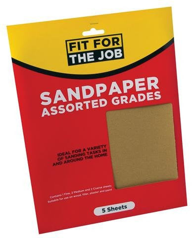 Rodo Fit For The Job - 5pc Assorted Sandpaper