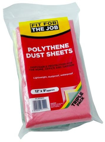 Rodo Fit For The Job - Polythene Dust Sheet 12x9 (3Pk)
