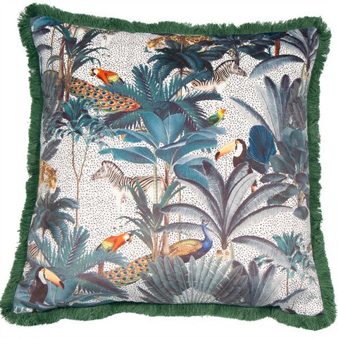 Cao Ferao Fun Green Cushion | Feather Filled | Malini Designs