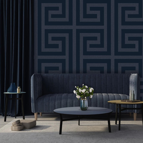 Giorgio Greek Key Navy Blue | Belgravia Wallpaper | GB8110