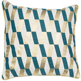 Gina Gold/Teal Cushion | Feather Filled | Malini Designs
