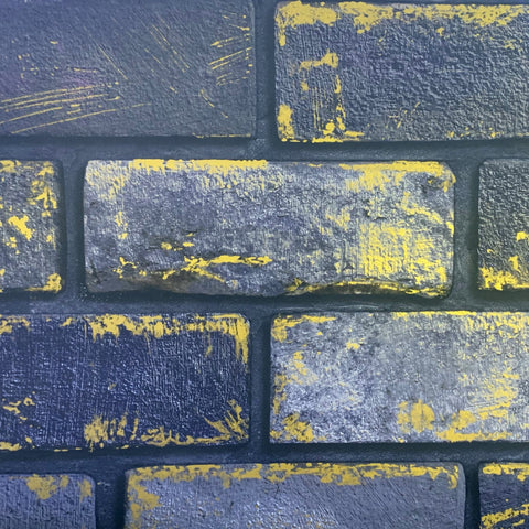 Arthouse Metallic Wallpaper | Metallic Brick Navy/Gold | 692200