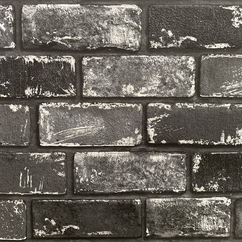 Metallic Brick Black/Silver Wallpaper | Arthouse 692202 | Brick Wallpaper