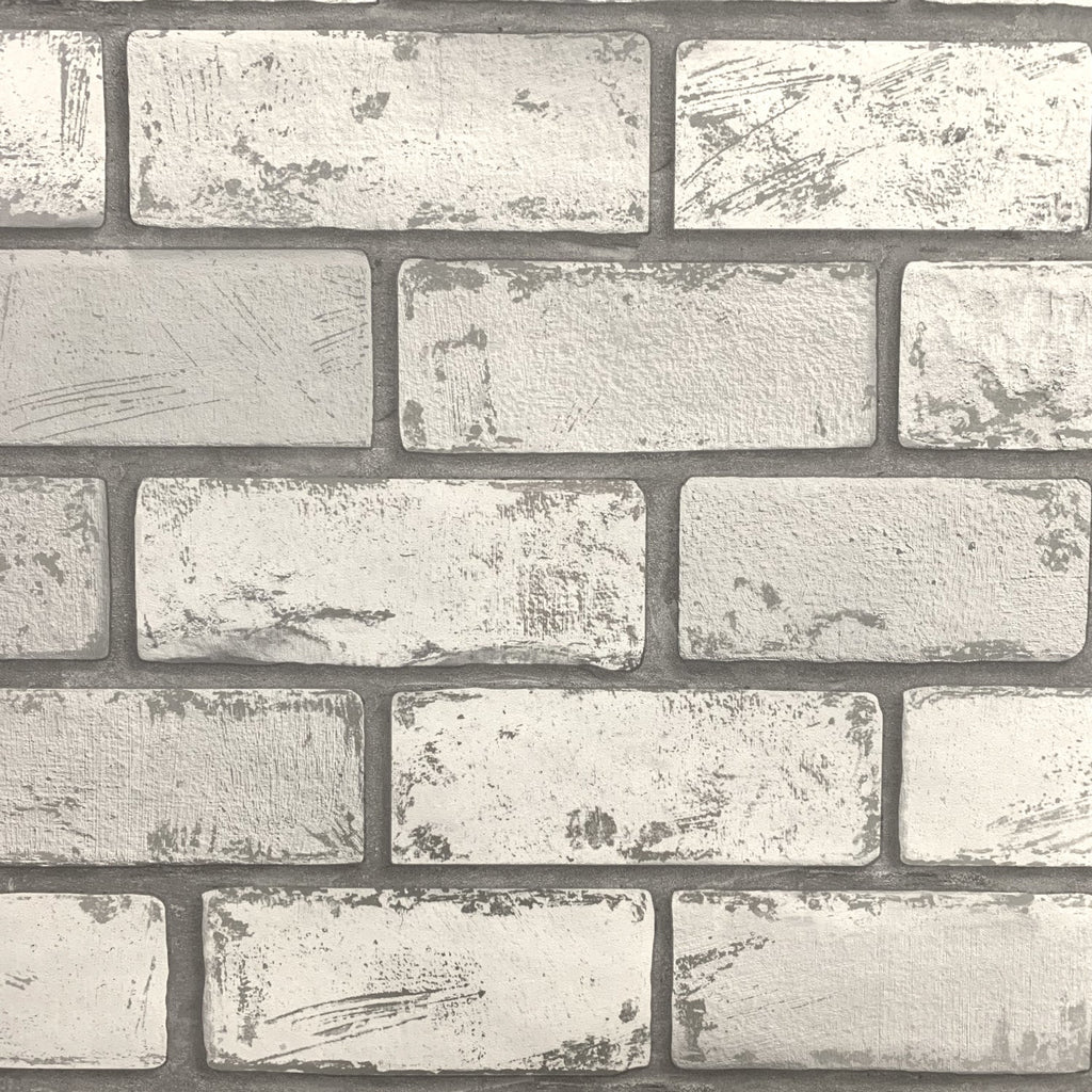 Metallic Brick White/Silver Wallpaper | Arthouse 692201 | Brick Wallpaper