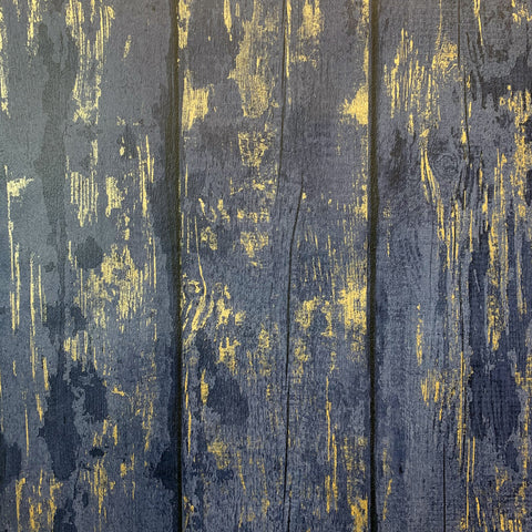 Metallic Washed Wood Navy/Gold Wallpaper | Arthouse 908500 - Wood Effect Wallpaper