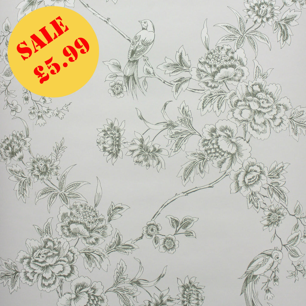 SALE Graham & Brown Wallpaper | Bird Trail Green/Taupe | 51-015