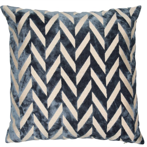 Jaz Velvet Blue Cushion | Feather Filled | Malini Designs