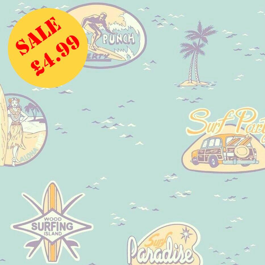 SALE Grandeco Jack 'N Rose Wallpaper | Surf's Up Aqua | LL-12-06-5