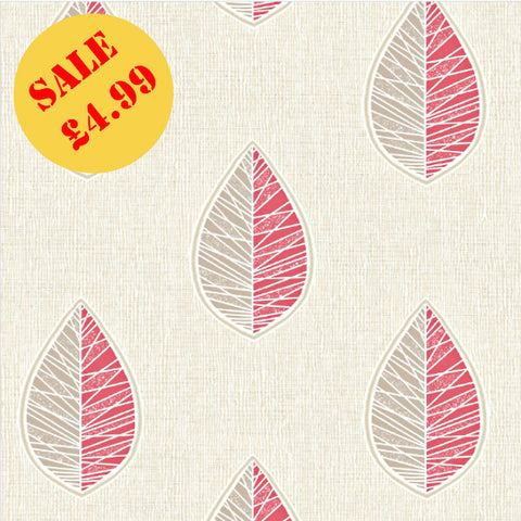 SALE CWV Crown Wallpaper | Scandi Leaf Red/Silver | M1253