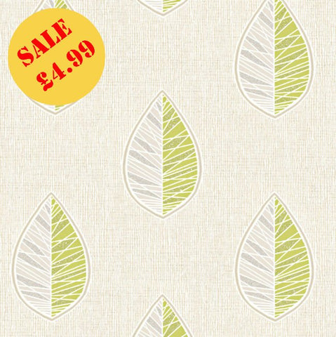 SALE CWV Crown Wallpaper | Scandi Leaf Green/Silver | M1255