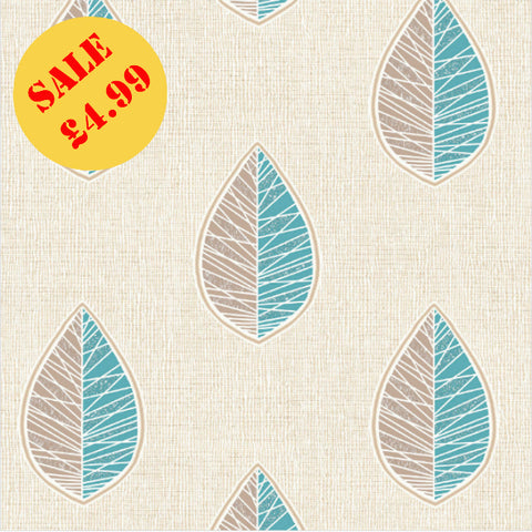CWV Crown Wallpaper | Scandi Leaf Teal | M1256