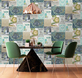 Crown Wallpaper | Gin O'Clock Teal/Gold | M1455