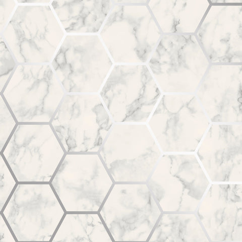 CWV Wallpaper | Hex Marble Silver/Grey | M1505