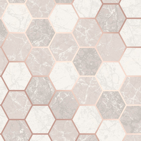 CWV Wallpaper | Hex Multi Rose Gold | M1507