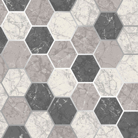 CWV Wallpaper | Hex Multi Charcoal Grey | M1508