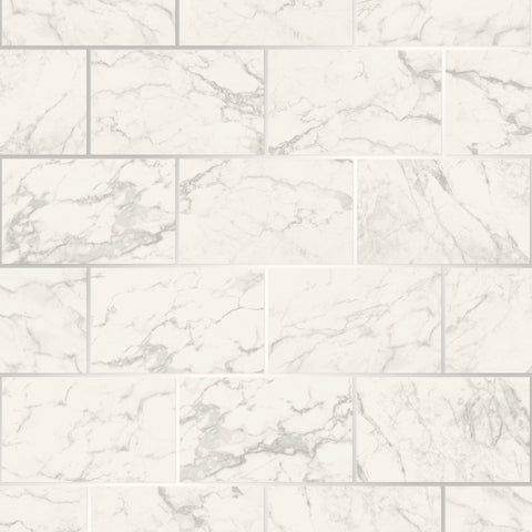 CWV Wallpaper | Brick Marble Silver/White | M1509
