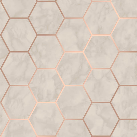 CWV Wallpaper | Hex Marble Rose Gold | M1512