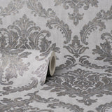 Tulsa Damask Charcoal Wallpaper | CWV M1533