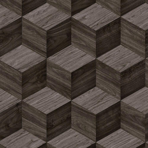 Design id Wallpaper | 3D Cube Woodgrain Walnut | NF232124