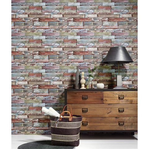 Erismann Wallpaper | Authentic Wood Panel Multi | 7319-06